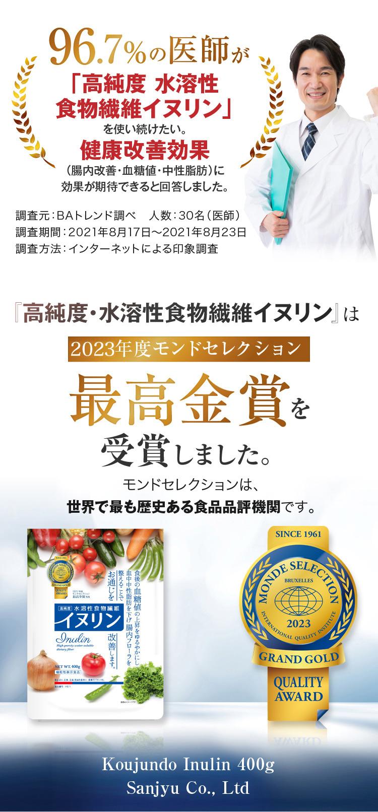 機能性表示食品『高純度・水溶性食物繊維イヌリン』安心・安価!