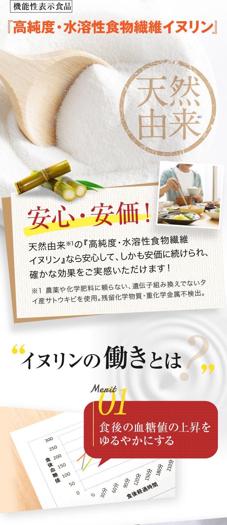 イヌリンは菊芋などの作物に含まれる水に溶ける性質をもった食物繊維です 善玉菌のエサになりやすい